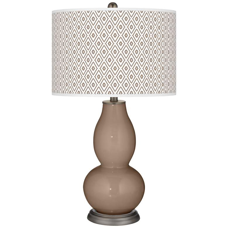 Mocha Diamonds Double Gourd Table Lamp