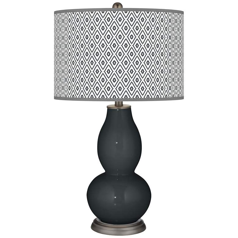 Black of Night Diamonds Double Gourd Table Lamp