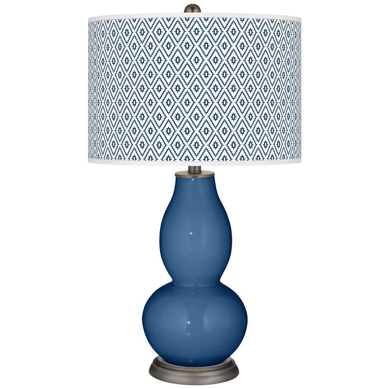 Regatta Blue Diamonds Double Gourd Table Lamp