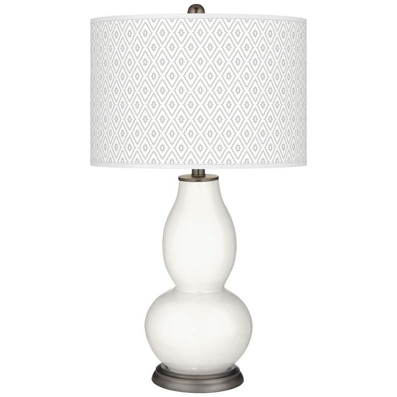 Winter White Diamonds Double Gourd Table Lamp
