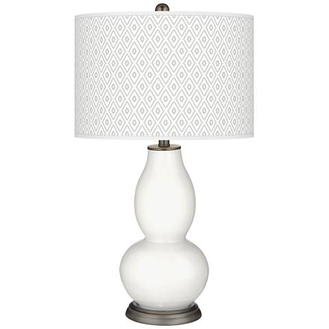 Winter White Diamonds Double Gourd Table Lamp