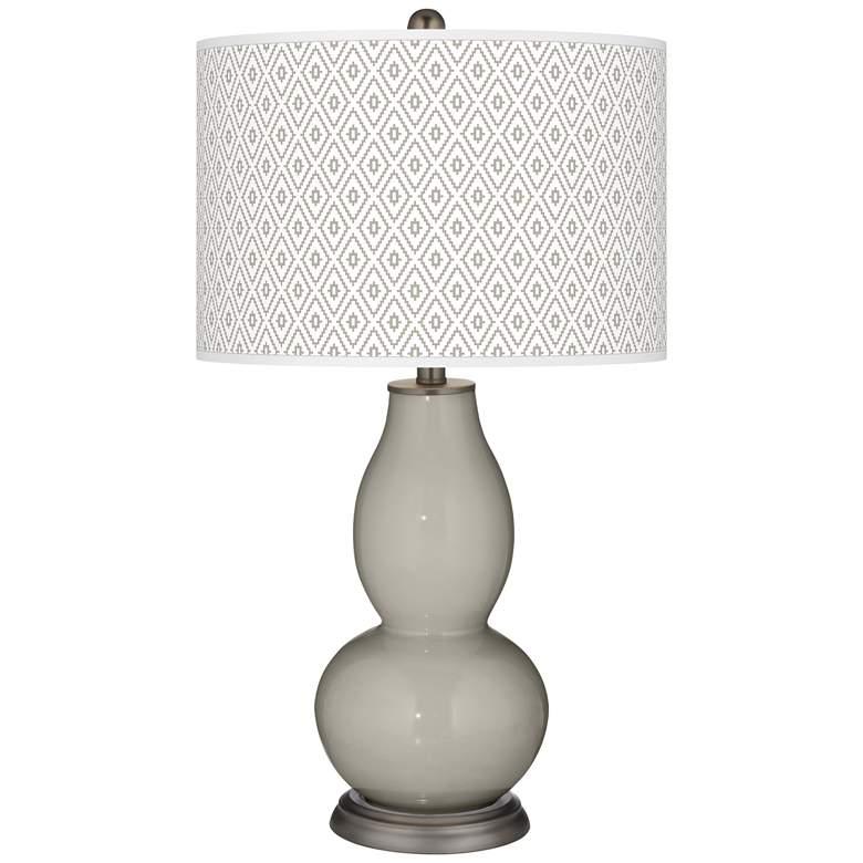 Requisite Gray Diamonds Double Gourd Table Lamp