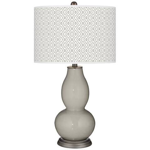 Requisite Gray Diamonds Double Gourd Table Lamp