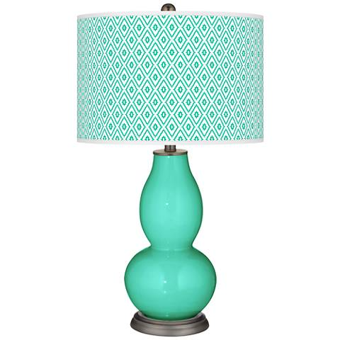 Turquoise Diamonds Double Gourd Table Lamp
