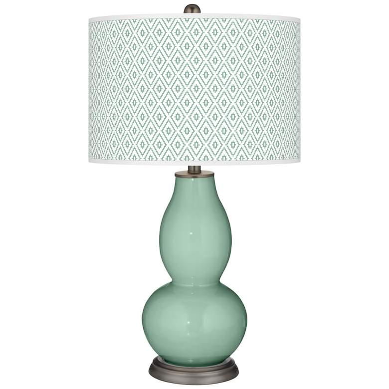 Grayed Jade Diamonds Double Gourd Table Lamp