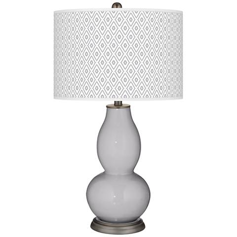 Swanky Gray Diamonds Double Gourd Table Lamp