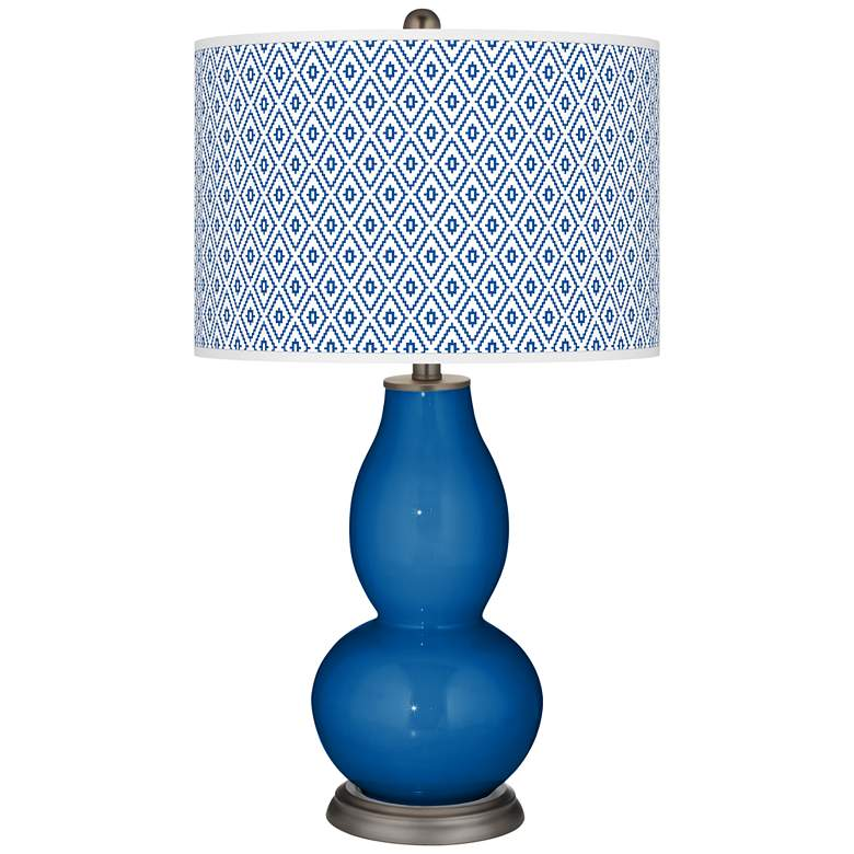 Hyper Blue Diamonds Double Gourd Table Lamp