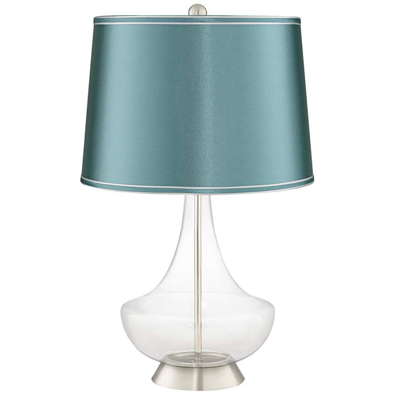 Clear Glass Fillable Teal Satin Shade Gillan Table Lamp