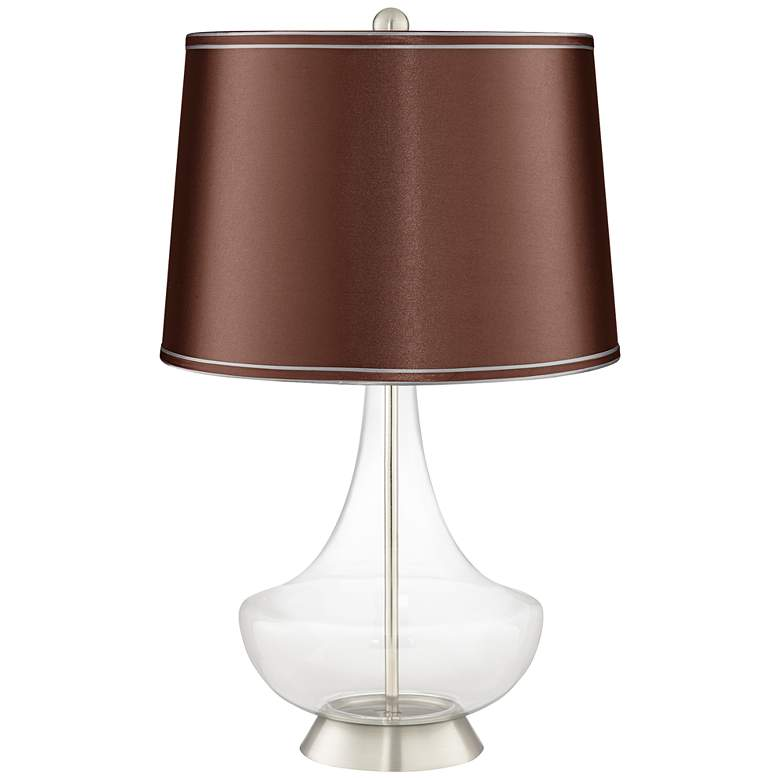 Clear Glass Fillable Soft Brown Satin Gillan Table Lamp