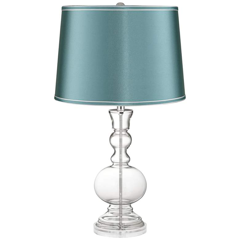 Clear Glass Fillable Teal Satin Shade Apothecary Table Lamp