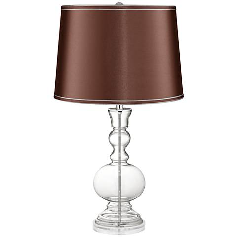 Clear Fillable Glass Soft Brown Satin Apothecary Table Lamp