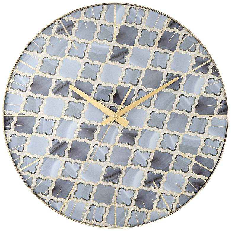 """Cian Patterned Gray 17 3/4"""" Round Wall Clock"""