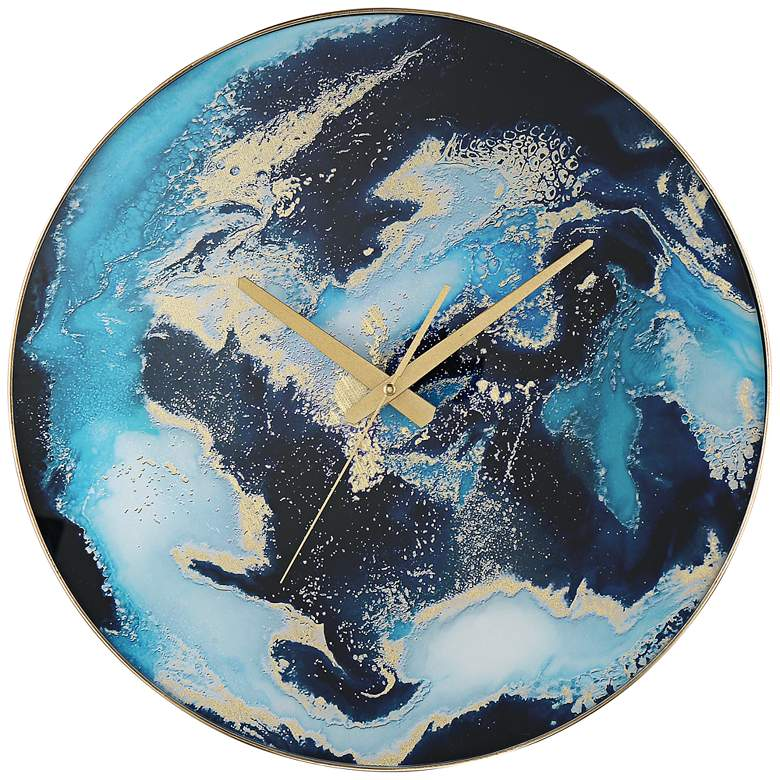 "Dina 17 3/4"" Coastal Luxe Blue Marble Finish Wall Clock"
