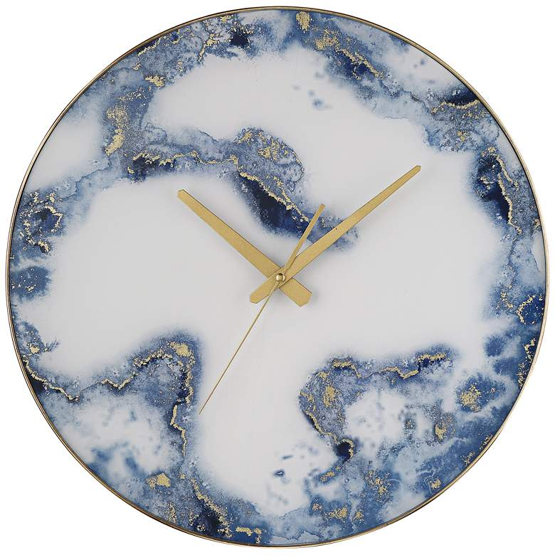 """Ainsdale Blue and White 17 3/4"""" Round Marble Wall Clock"""