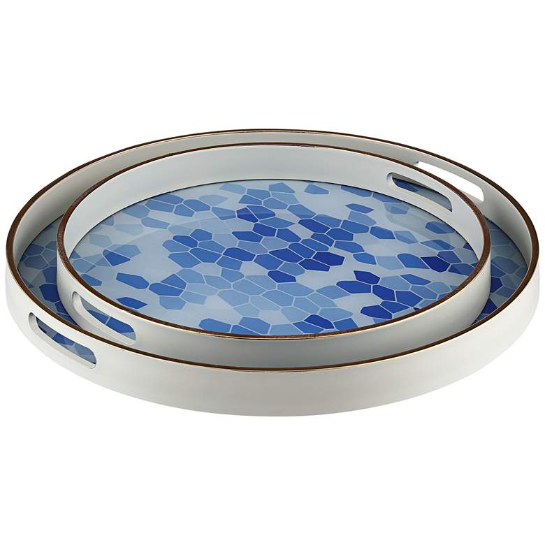 Izabel Blue and White Patterned Round Tray - Set of 2