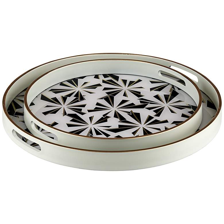 Hadi Black and White Round Patterned Tray Set of 2