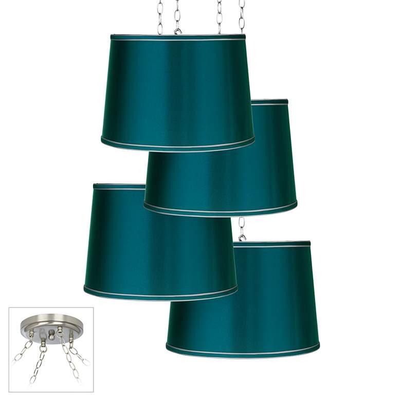 Teal Satin 4-Light Brushed Nickel Multi Light Pendant