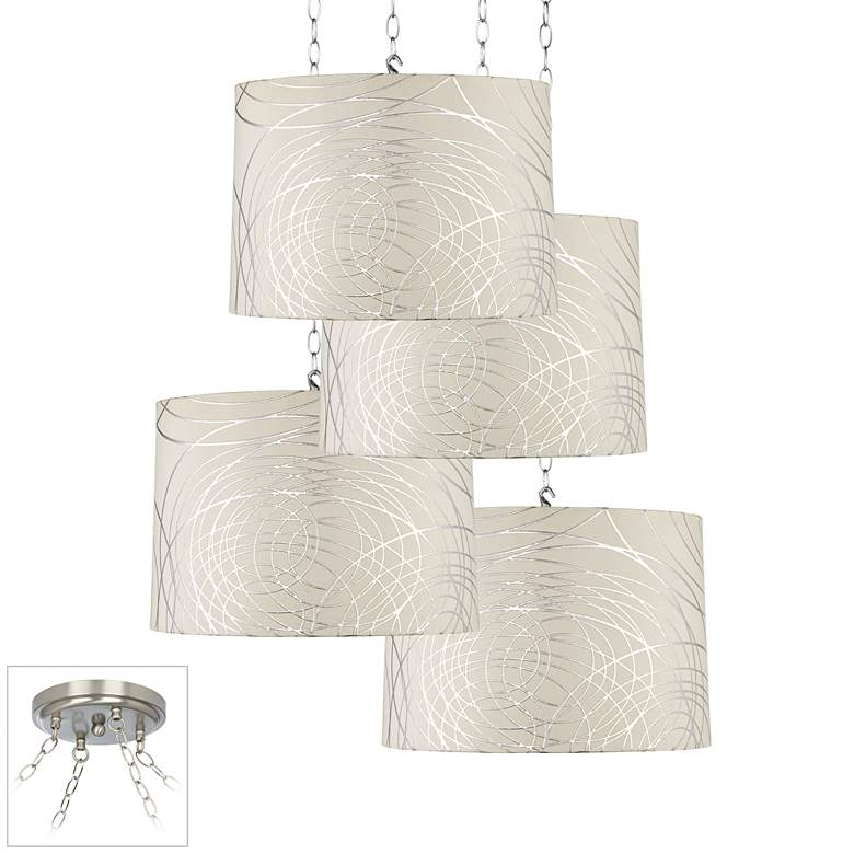Abstract Silver Circles Brushed Nickel 4-Light Pendant