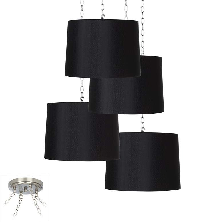 Black Drum 4-Light Brushed Nickel Multi Light Pendant