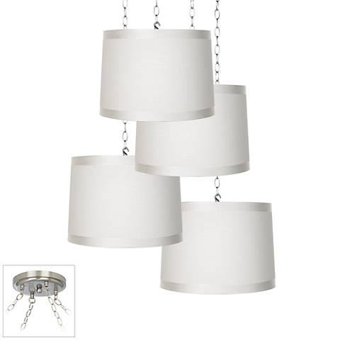 Off-White Drum 4-Light Brushed Steel Multi Light Pendant