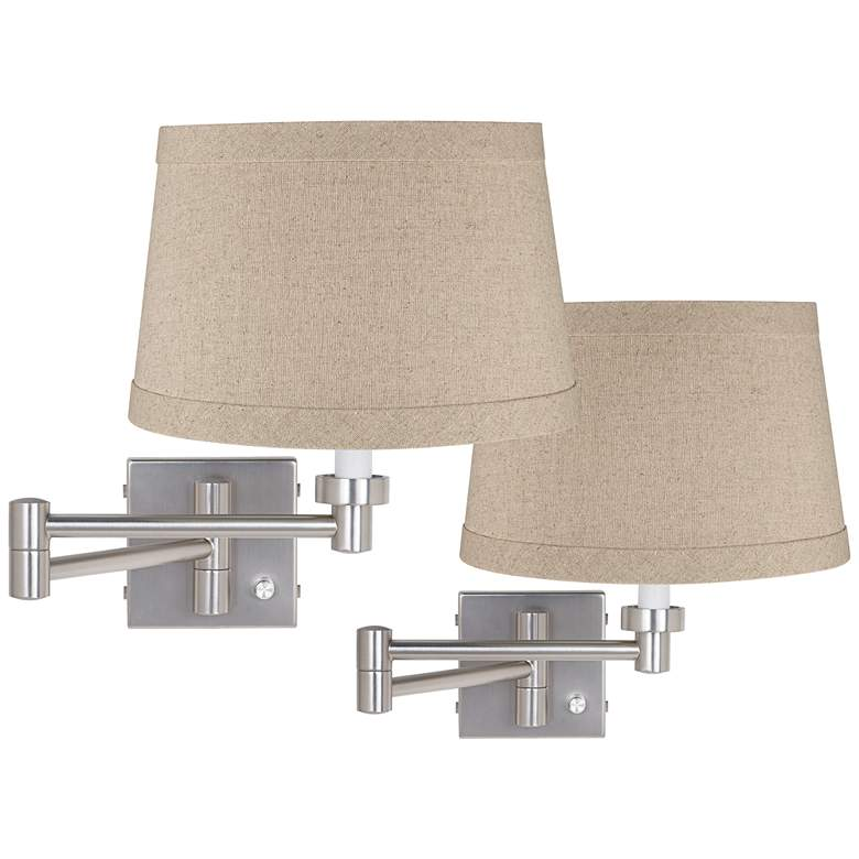 Brushed Nickel Linen Drum Shade Swing Arm Wall Lamp Set of 2