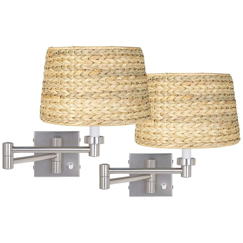 Brushed Nickel Woven Shade Swing Arm Wall Lamp Set of 2