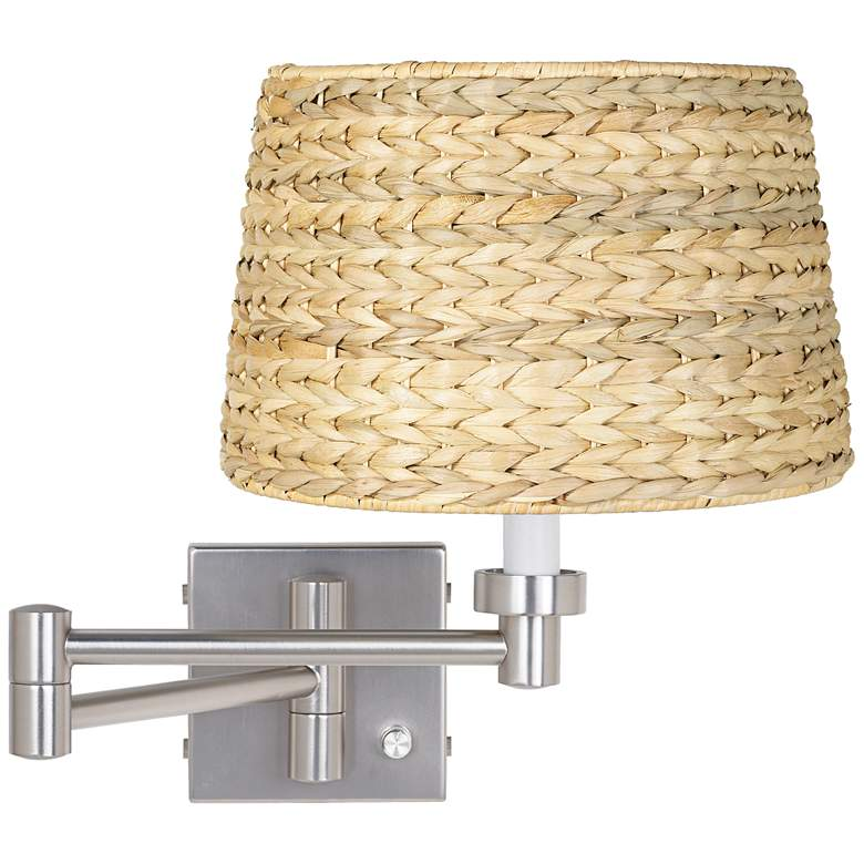Brushed Nickel Woven Seagrass Shade Swing Arm Wall Lamp