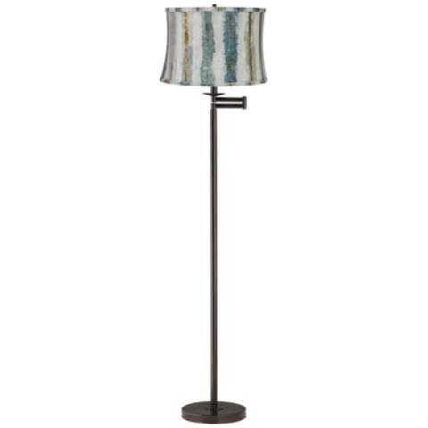 blue multi crackle stripes shade bronze swing arm floor lamp 62p69 lamps plus. Black Bedroom Furniture Sets. Home Design Ideas