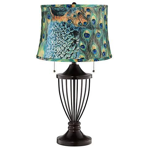 Peacock Print Shade Bronze Urn Table Lamp
