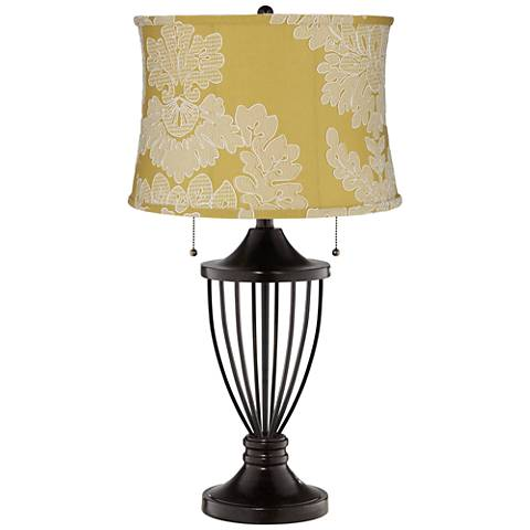 Yellow with Stitch Filigree Shade Bronze Urn Table Lamp