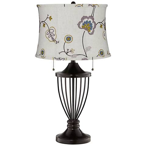 Gray Stitched Flower Shade Bronze Urn Table Lamp