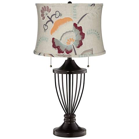 Beige with Embroider Flowers Shade Bronze Urn Table Lamp