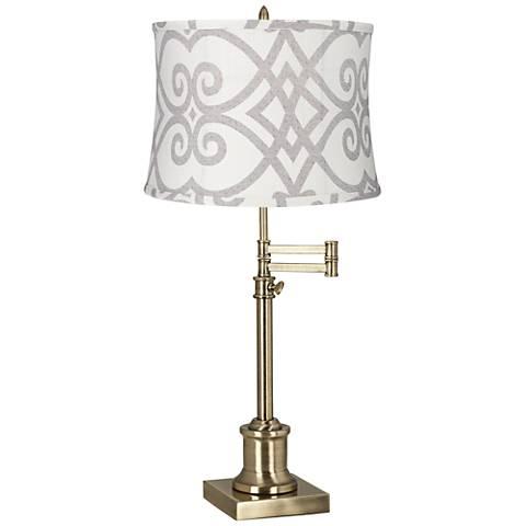 Westbury Cream and Gray Shade Brass Swing Arm Desk Lamp