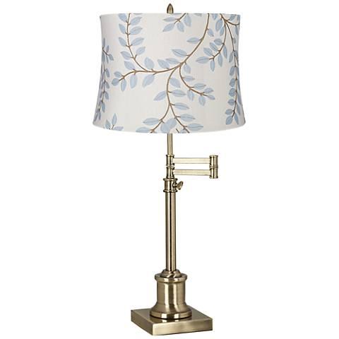 Westbury Bahama Gray Shade Brass Swing Arm Desk Lamp