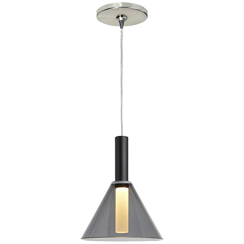 "Mezz 6 1/2"" Wide Smoke Glass LED Freejack Mini Pendant"