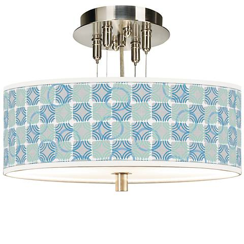 "Deco Circles Giclee 14"" Wide Ceiling Light"