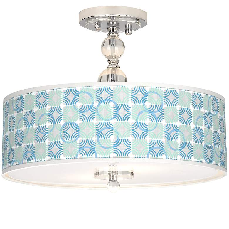 "Deco Circles Giclee 16"" Wide Semi-Flush Ceiling Light"