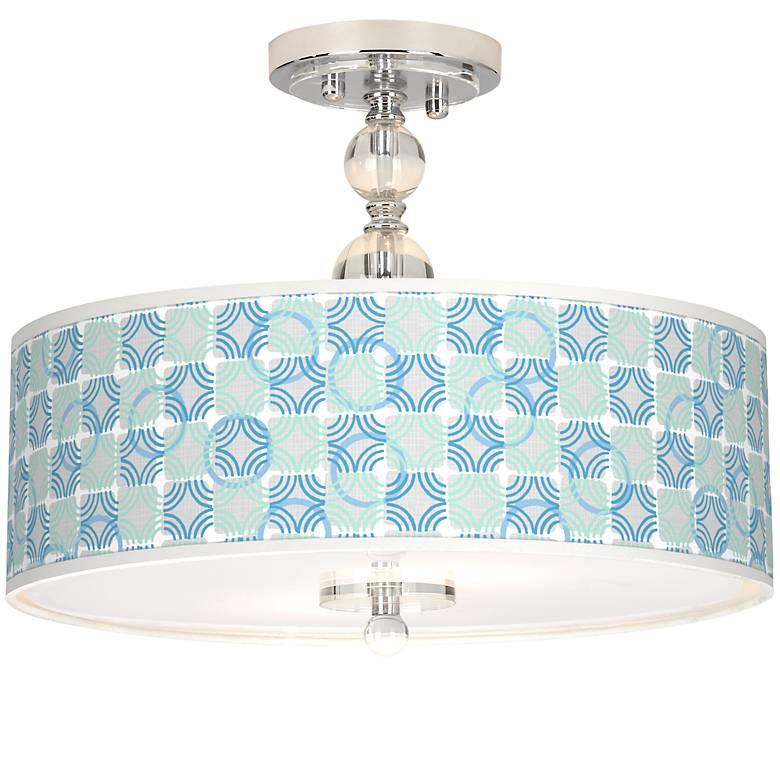 "Deco Circles Giclee 16"" Wide Semi-Flush Ceiling Light"