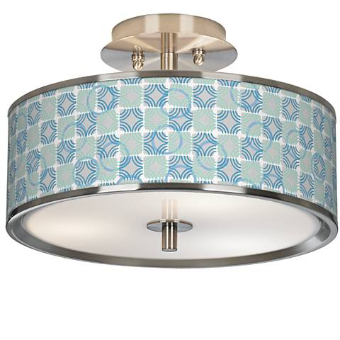 "Deco Circles Giclee Glow 14"" Wide Ceiling Light"