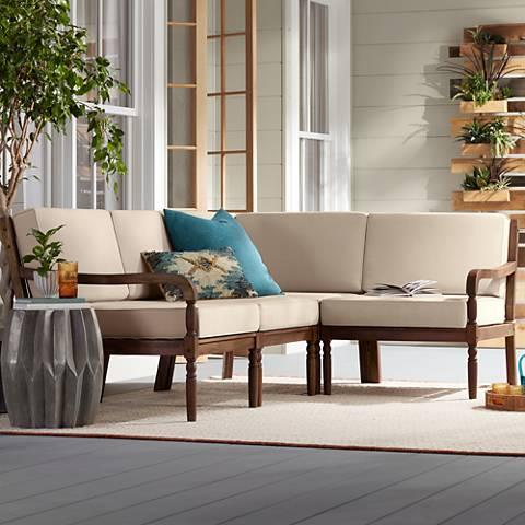 Napa Modular Natural Wood 4-Piece Outdoor Seating Patio Set