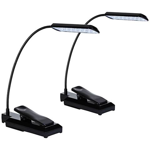 Black LED Battery Powered Clip-On Book Light Set of 2