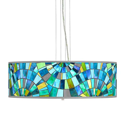 "Lagos Mosaic Giclee 24"" Wide 4-Light Pendant Chandelier"