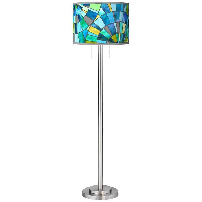 Lagos Mosaic Giclee Brushed Nickel Garth Floor Lamp