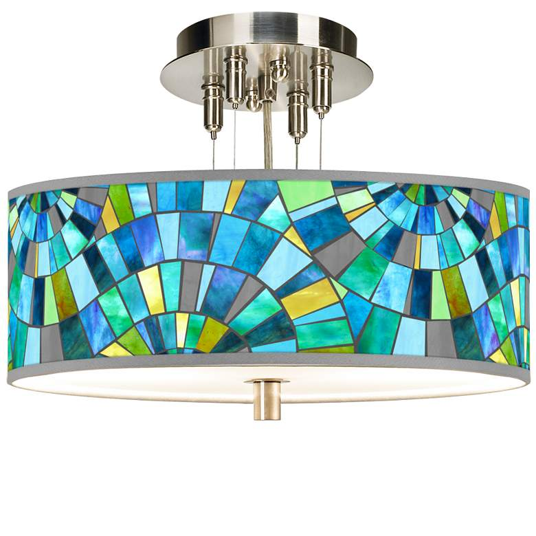 """Lagos Mosaic Giclee 14"""" Wide Ceiling Light"""