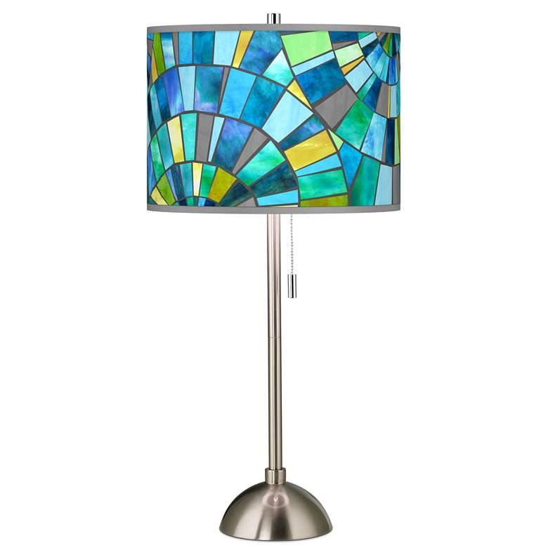 Lagos Mosaic Metallic Giclee Brushed Nickel Table Lamp