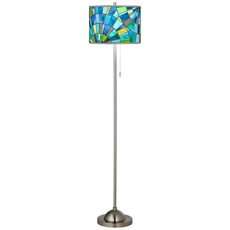 Lagos Mosaic Brushed Nickel Pull Chain Floor Lamp