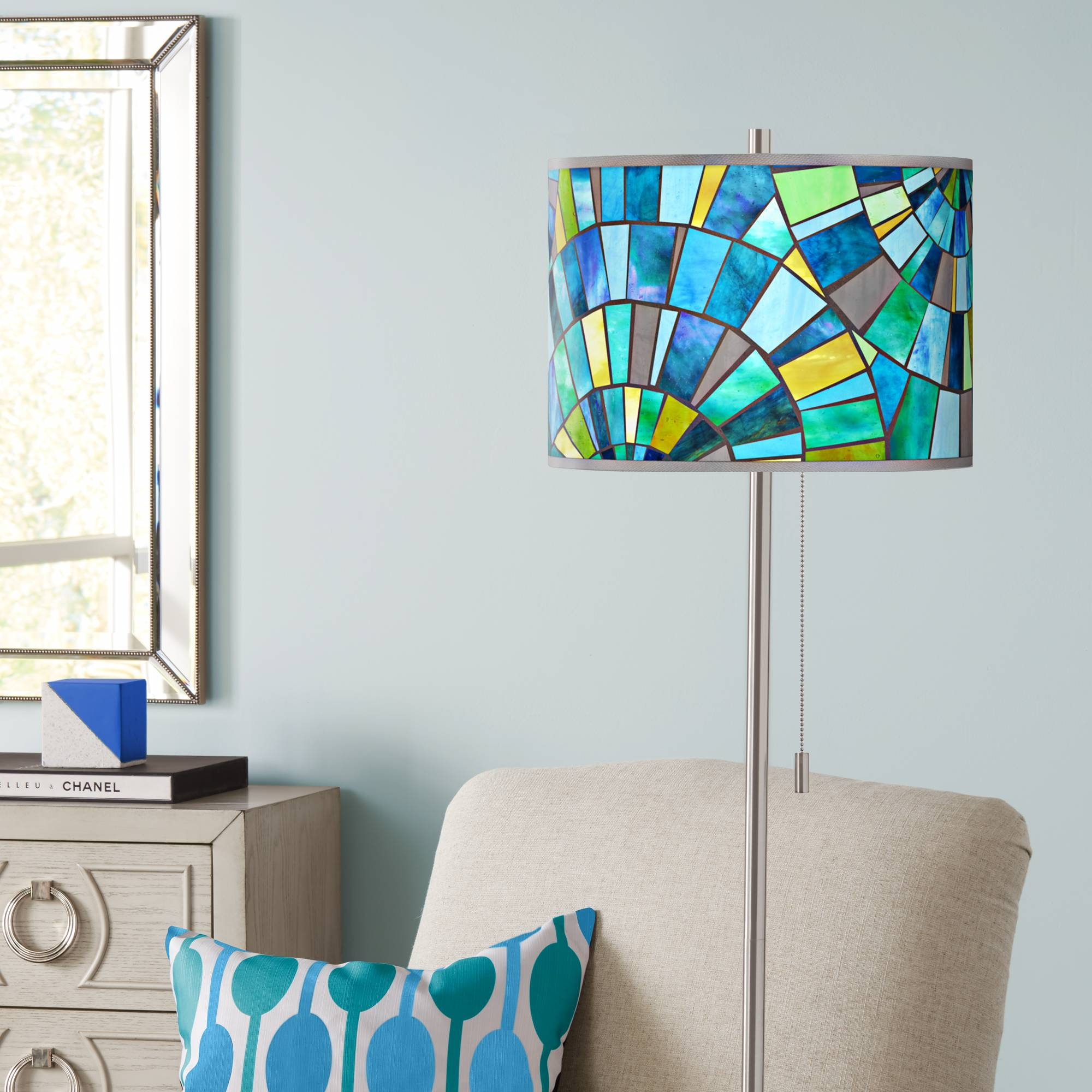 Details About Lagos Mosaic Brushed Nickel Pull Chain Floor Lamp
