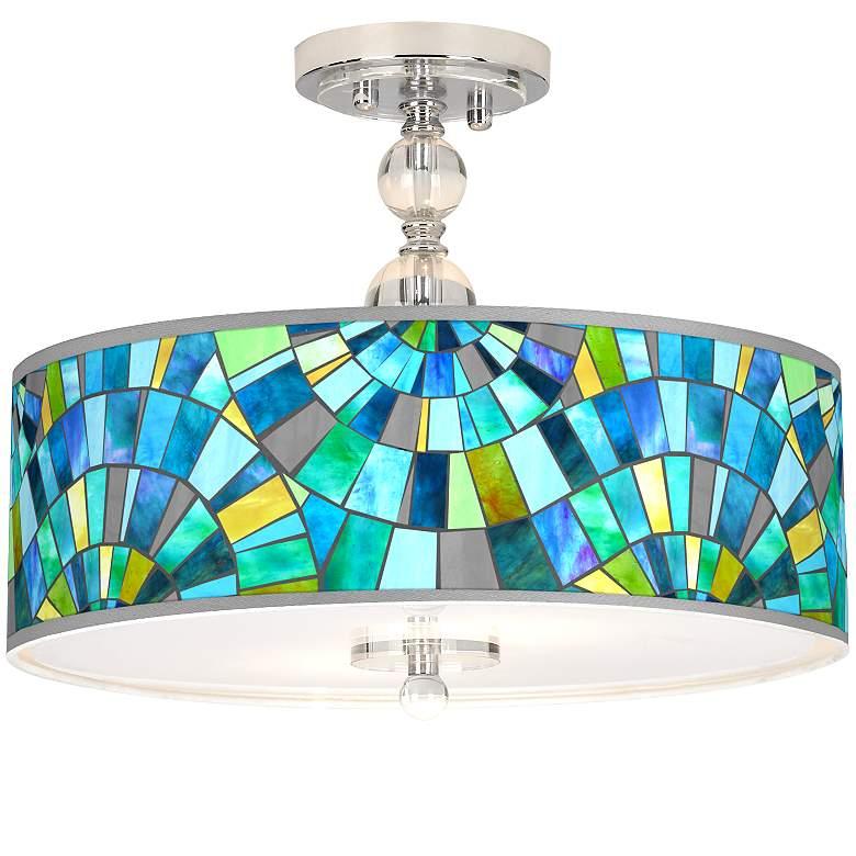 "Lagos Mosaic Giclee 16"" Wide Semi-Flush Ceiling Light"