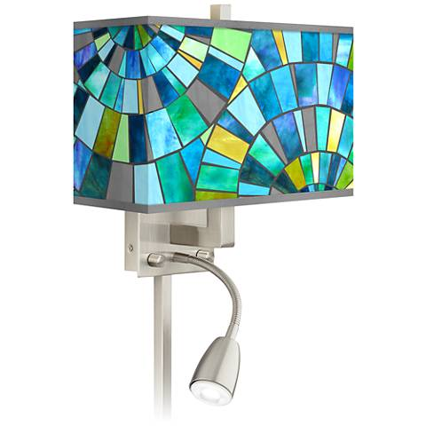 Lagos Mosaic Giclee Glow LED Reading Light Plug-In Sconce