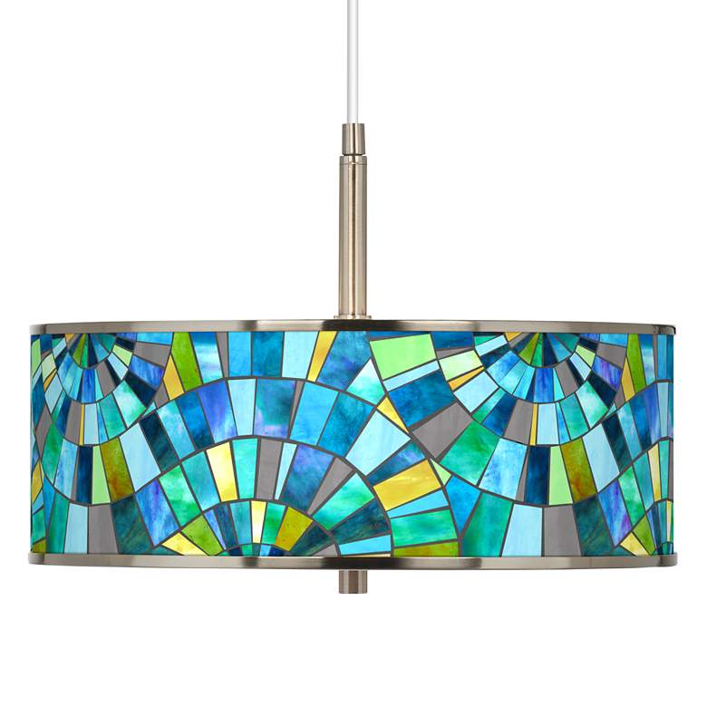 "Lagos Mosaic Giclee Glow 16"" Wide Pendant Light"